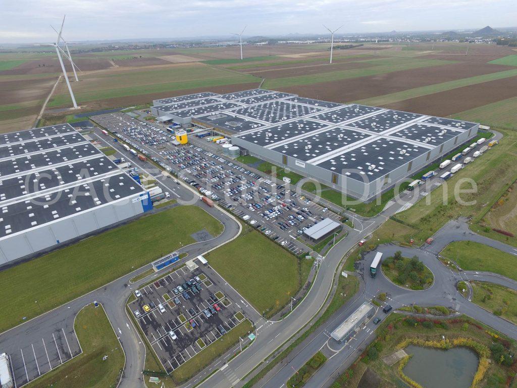 Photographie par drone Nord zone logistique de Lauwin-Planque